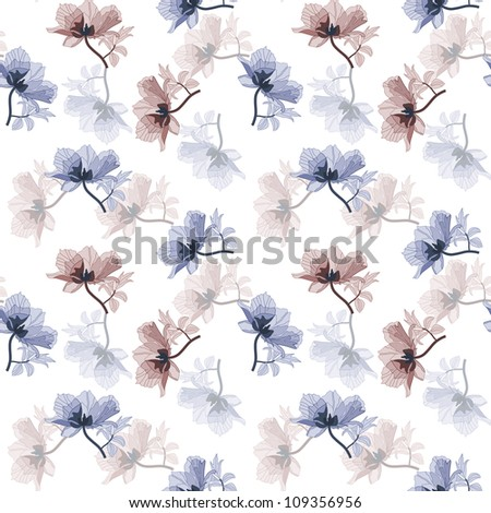 Seamless background with blue and purple poppies in retro style (eps10) - stock vector