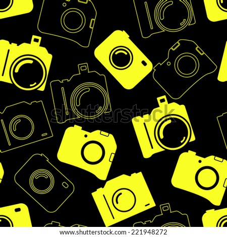 Seamless background with blue cameras - stock vector