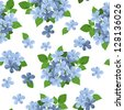 Seamless background with blue flowers. Vector illustration. - stock vector