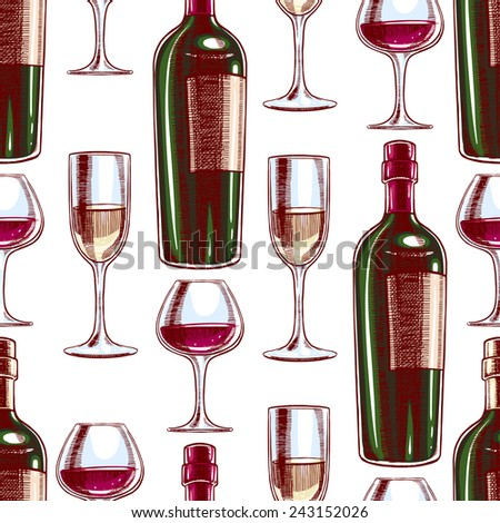 seamless background with bottles and glasses of wine. hand-drawn illustration - stock vector