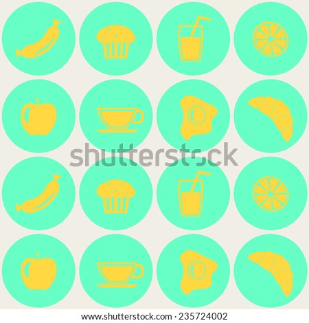 Seamless background with breakfast symbols