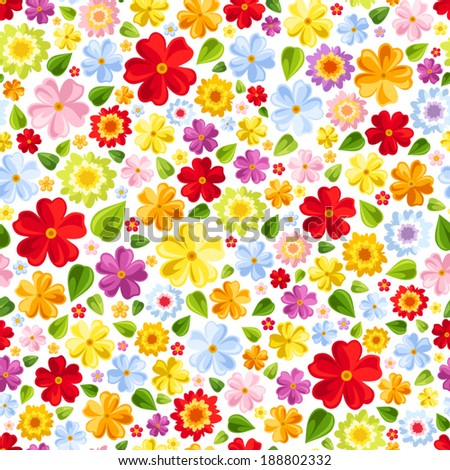 Seamless background with bright colorful flowers. Vector illustration. - stock vector