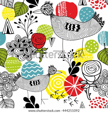 Seamless background with bright  elements and cute bird. Vector illustration.