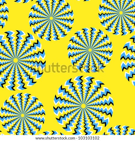 Seamless background with bright optical illusions of rotation executed from rhombuses - stock vector