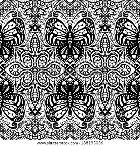 Seamless background with butterflies, floral geometric ornament, vector lace pattern, abstract decoration, design elements collection, hand-drawn artwork black and white - stock vector