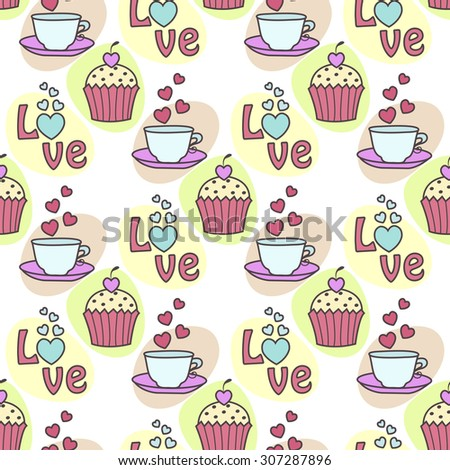 Seamless background with cake and tea - stock vector