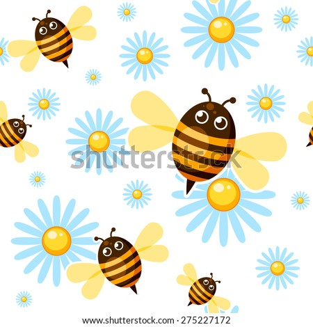 Seamless background with cartoon bees and chamomiles - stock vector