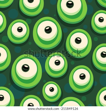 Seamless background with cartoon eyes of green monster - stock vector