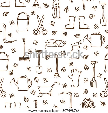 Seamless background with cartoon hand drawn objects on garden theme. Outdoor concept: watering can, gloves, cutter, pitchfork, shovel, boots, rake, pushcart, bucket, hose, sprayer for your design - stock vector