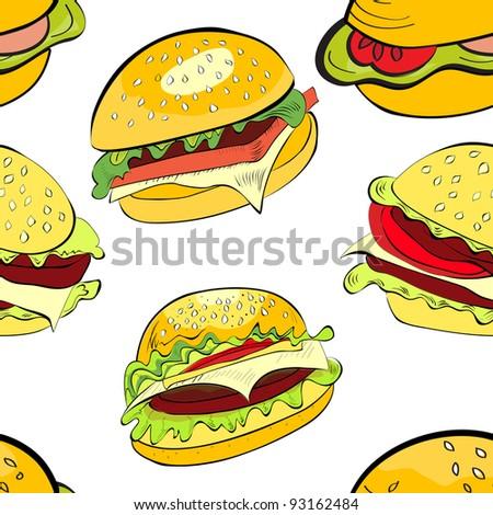 Seamless background with cartoon style hamburgers - stock vector