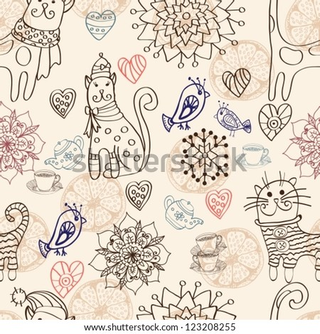 Seamless background with cats, birds, flowers and hearts, vector