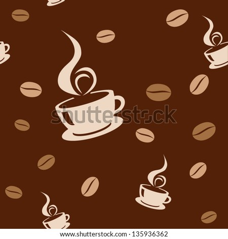 Seamless background with coffee beans and cups. Vector illustration - stock vector