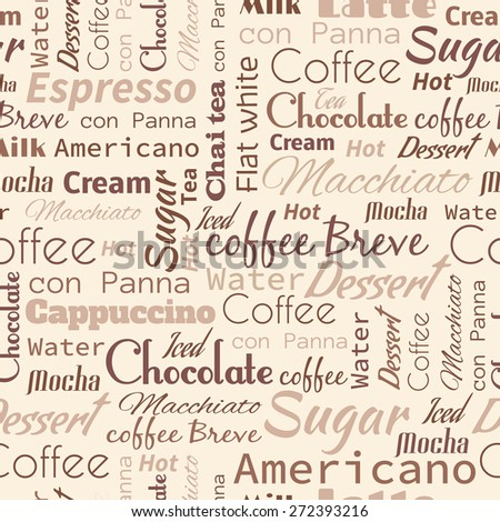stock vector seamless background with coffee tags for fast food design 272393216 - Каталог — Фотообои «Еда, фрукты, для кухни»