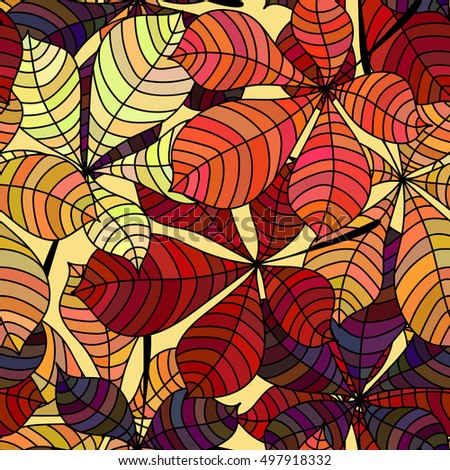 Seamless background with colorful autumn leaves. Repeating texture with floral motif. Vector illustration.