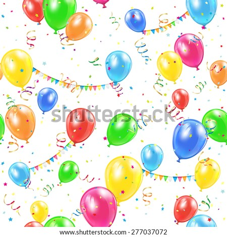 Seamless background with colorful balloons, pennants and confetti, illustration. - stock vector