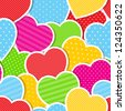 Seamless background with colorful hearts. Vector illustration. - stock vector