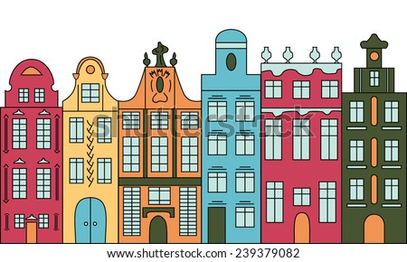 Seamless background with colorful multistage buildings in old European style. Vector illustration. - stock vector
