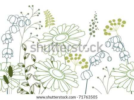Seamless background with contour flowers and plants