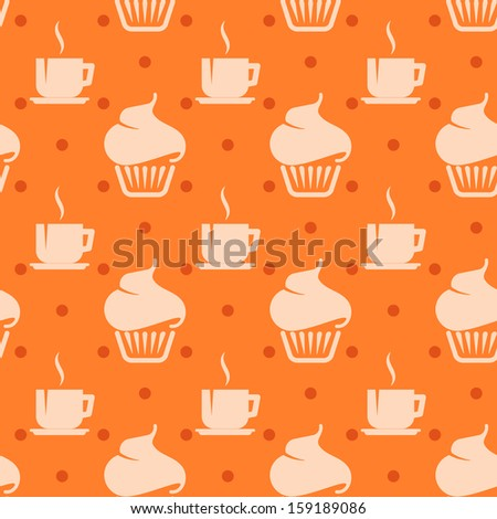 seamless background with cupcakes and coffee cups - stock vector