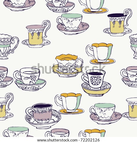 seamless background with cups - stock vector