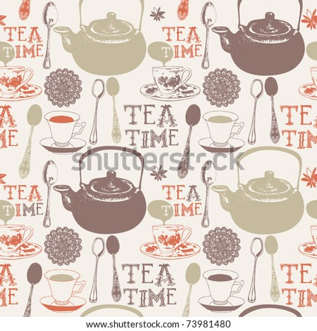 seamless background with cups and teapots - stock vector