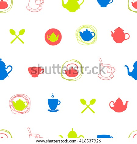 Seamless background with cups and teapots. Multicolor decor. Tea party menu pattern. Vector Illustration with funny drinks pattern on white background. Decorative elements for your packing design.  - stock vector