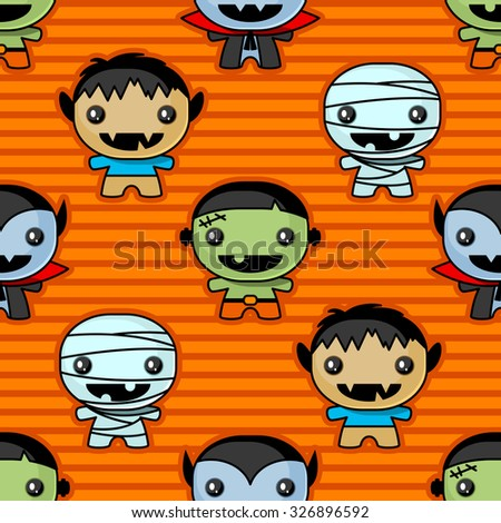 Seamless background with cute Halloween characters - stock vector