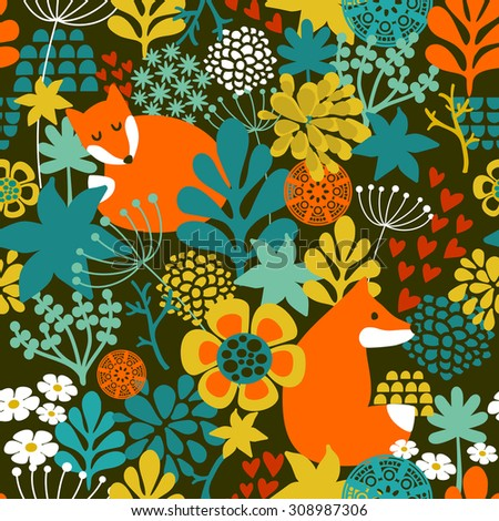 SeamLess background with cute night fox in the autumn forest. Vector repeated pattern. - stock vector