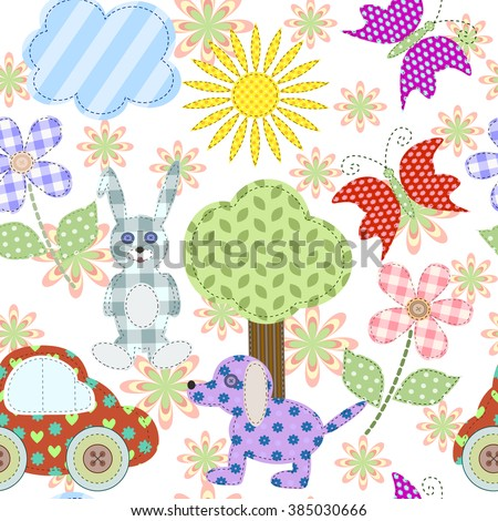 Seamless background with cute retro elements. Applique of tissue. In the children's style. For your design.Vector illustration. EPS 10 - stock vector