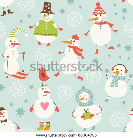 Seamless background with cute snowman - stock vector