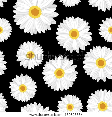 Seamless background with daisy flowers on black. Vector illustration. - stock vector