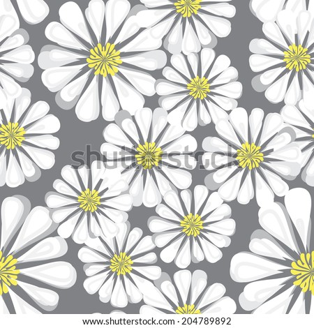 Seamless background with daisy flowers. Vector repeating texture. Chaotic daisies - stock vector