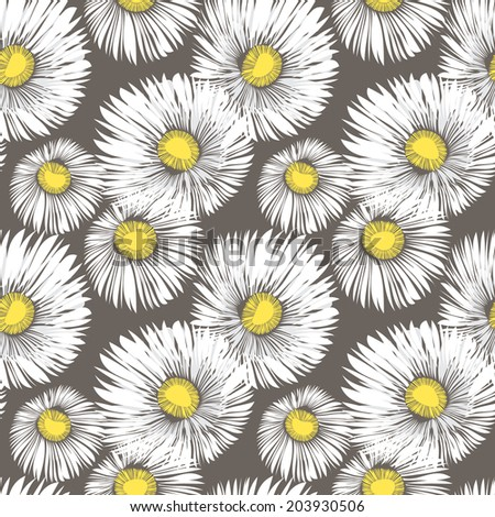 Seamless background with daisy flowers. Vector repeating texture. Chaotic fluffy daisies - stock vector