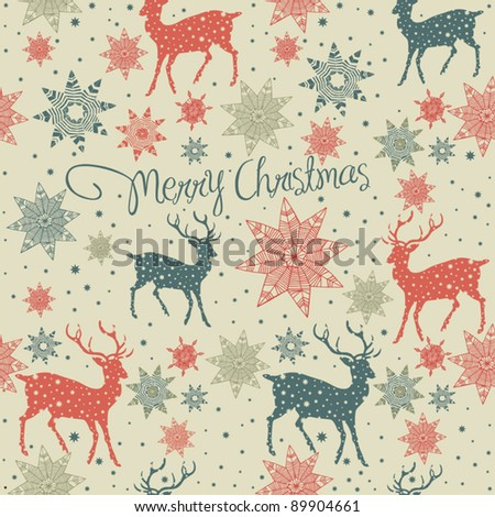 seamless background with deer - stock vector