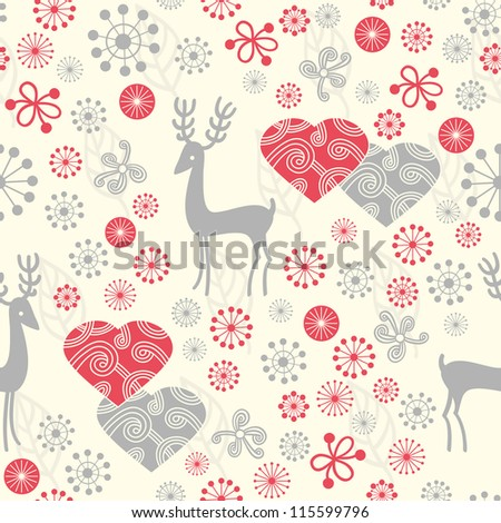 Seamless background with deer and Valentine hearts - stock vector