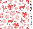 Seamless background with deer, bullfinches and  hearts for winter and christmas theme. Vector illustration. - stock photo
