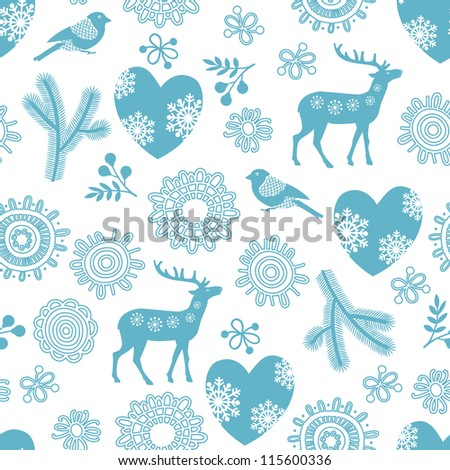 Seamless background with deer, bullfinches and  hearts for winter and christmas theme. Vector illustration. - stock vector