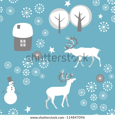 Seamless background with deer for winter and christmas theme. Vector illustration.