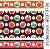 Seamless background with different berries on a black background. Two seamless ornamental strips - stock vector