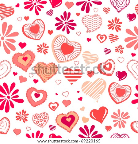 Seamless background with different contour red hearts - stock vector