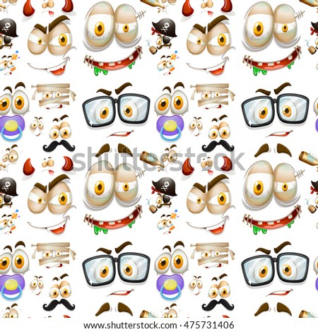 Seamless background with different facial expressions illustration