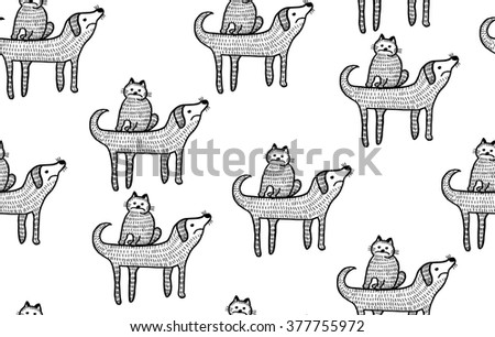 seamless background with dog and cat - stock vector