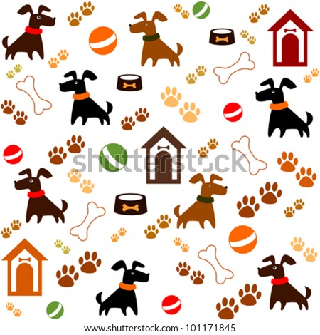Seamless background with dogs. Vector Illustration