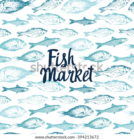 Seamless Background With Drawn Sketches Of Fish Blue Hand Illustration Market