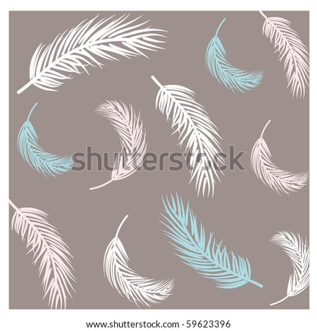 Seamless background with feathers - stock vector