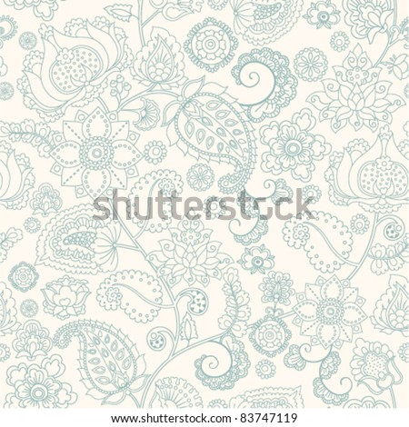 seamless background with flower ornament - stock vector