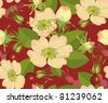 Seamless background with flowers and brier on red-brown background. - stock vector