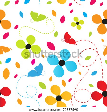 Seamless background with flowers and butterflies - stock vector