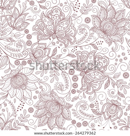 seamless background with flowers branch - stock vector