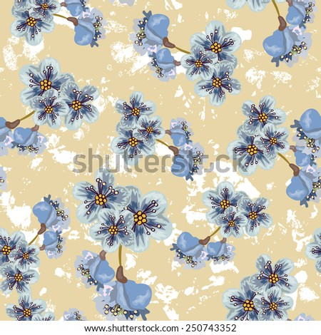 Seamless background with flowers cherry - stock vector